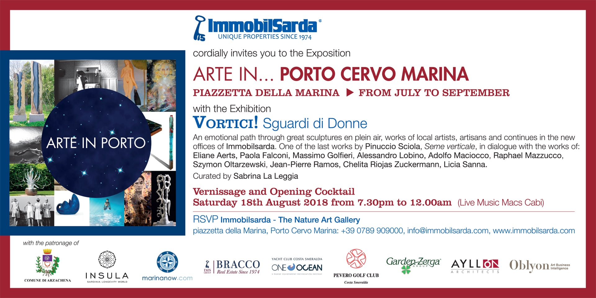 ARTE IN… PORTO CERVOMARINA – 18 Agosto Opening Cocktail